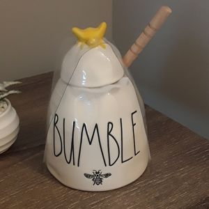 Rae Dunn 'Bumble' honey pot with wooden st…